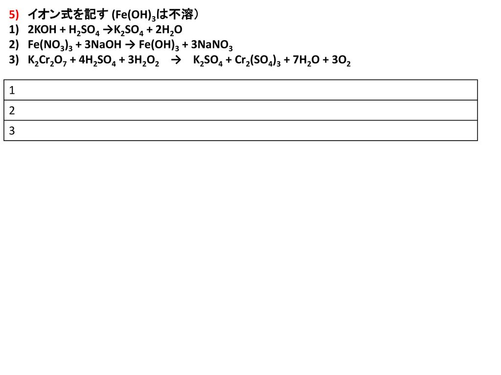 5) イオン式を記す (Fe(OH)3は不溶) 2KOH + H2SO4 →K2SO4 + 2H2O. Fe(NO3)3 + 3NaOH → Fe(OH)3 + 3NaNO3.