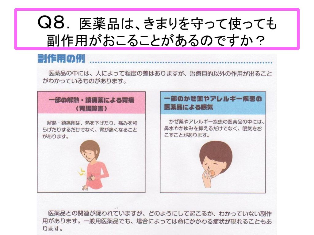 Q8.医薬品は、きまりを守って使っても 副作用がおこることがあるのですか?