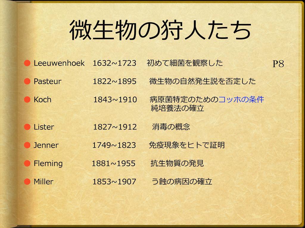 微生物の狩人たち P8 ● Leeuwenhoek 1632~1723 初めて細菌を観察した