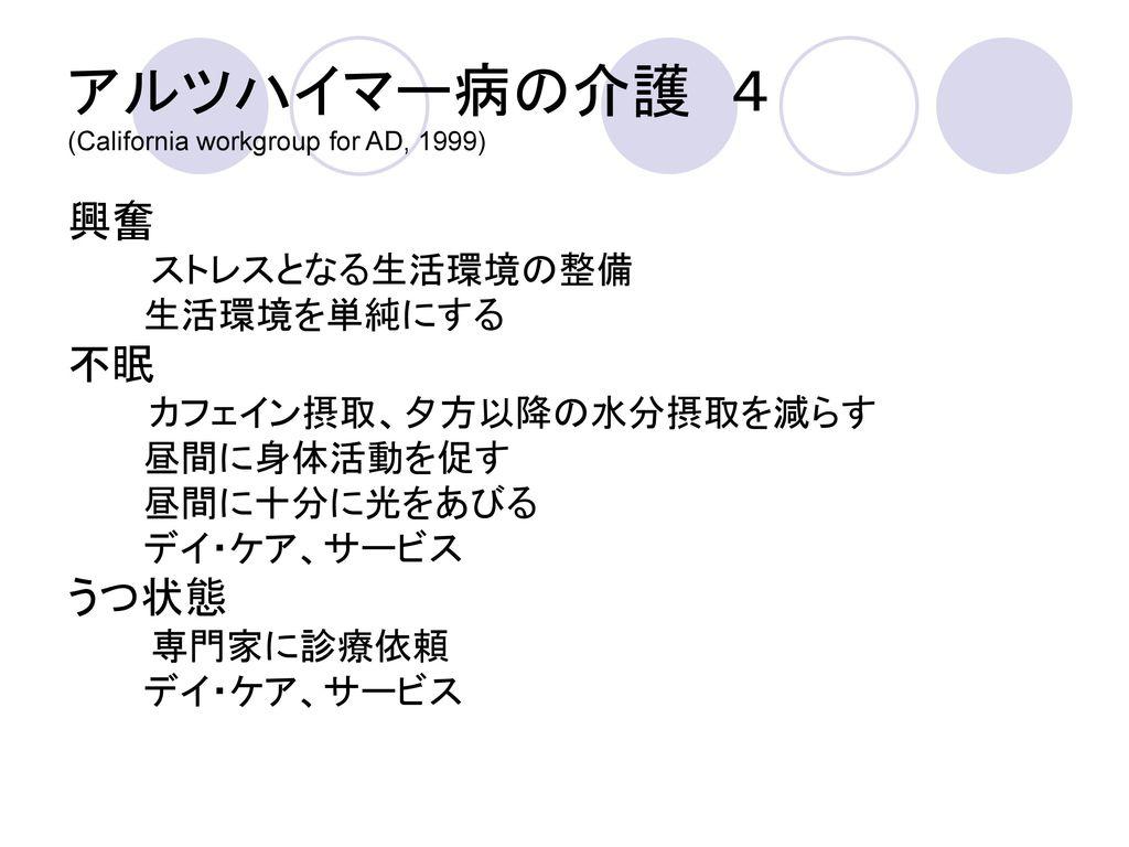 アルツハイマー病の介護 4 (California workgroup for AD, 1999)