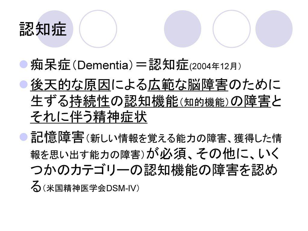 認知症 痴呆症(Dementia)=認知症(2004年12月)