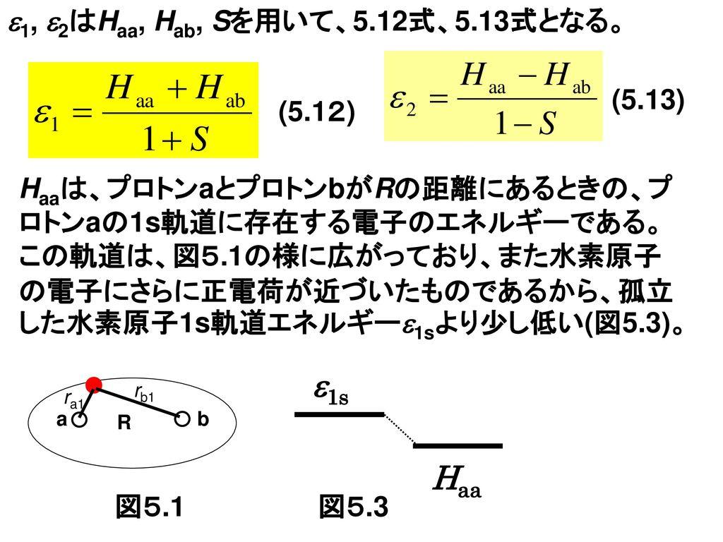 1s Haa 1, 2はHaa, Hab, Sを用いて、5.12式、5.13式となる。 (5.13) (5.12)