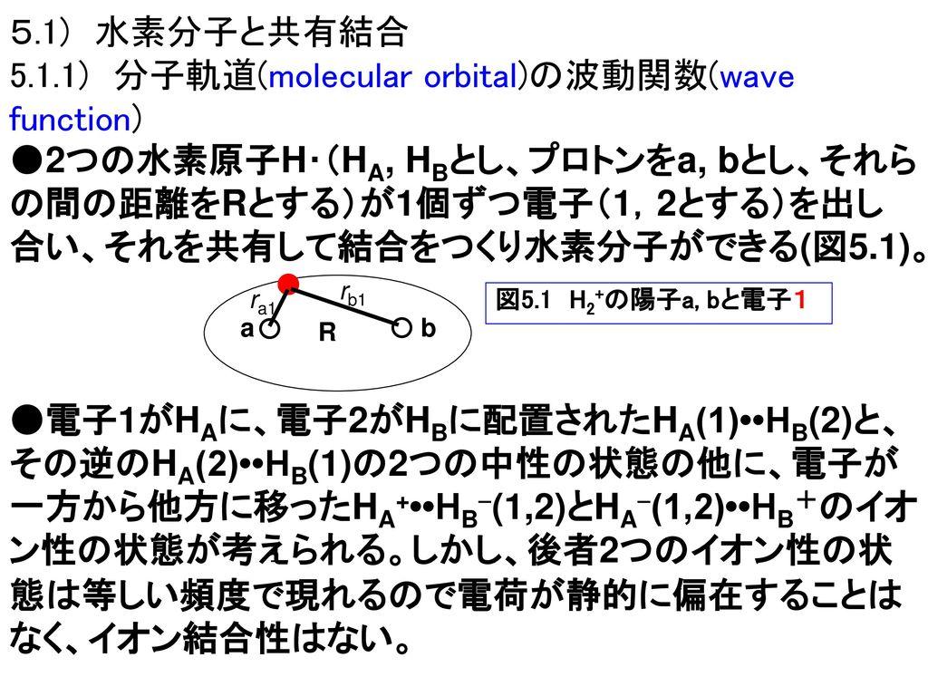 5.1.1) 分子軌道(molecular orbital)の波動関数(wave function)