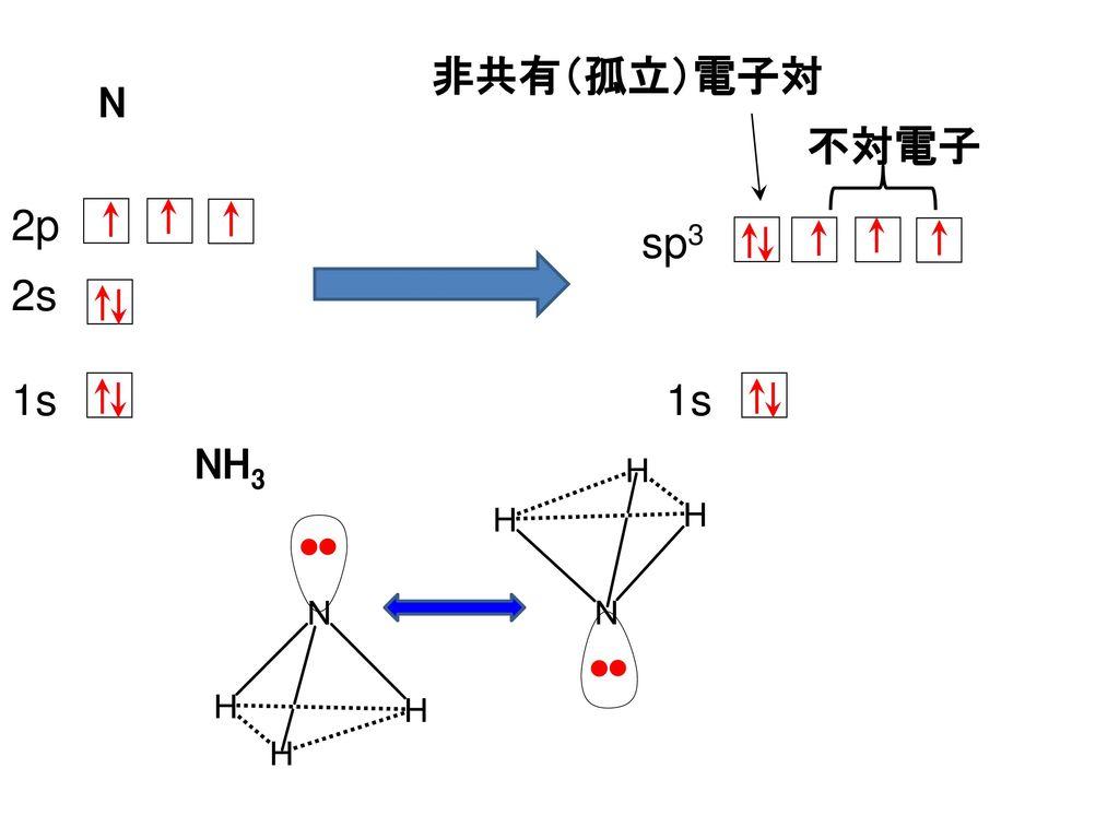非共有(孤立)電子対 N 不対電子 2p sp3 2s 1s 1s NH3