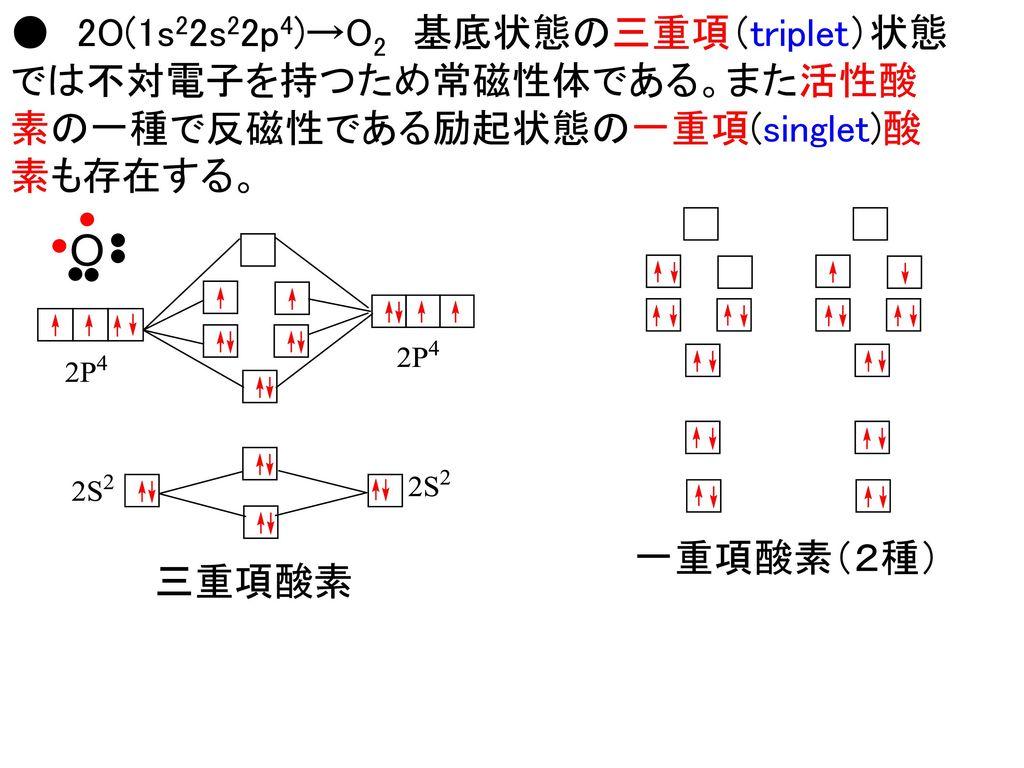 ● 2O(1s22s22p4)→O2 基底状態の三重項(triplet)状態では不対電子を持つため常磁性体である。また活性酸素の一種で反磁性である励起状態の一重項(singlet)酸素も存在する。
