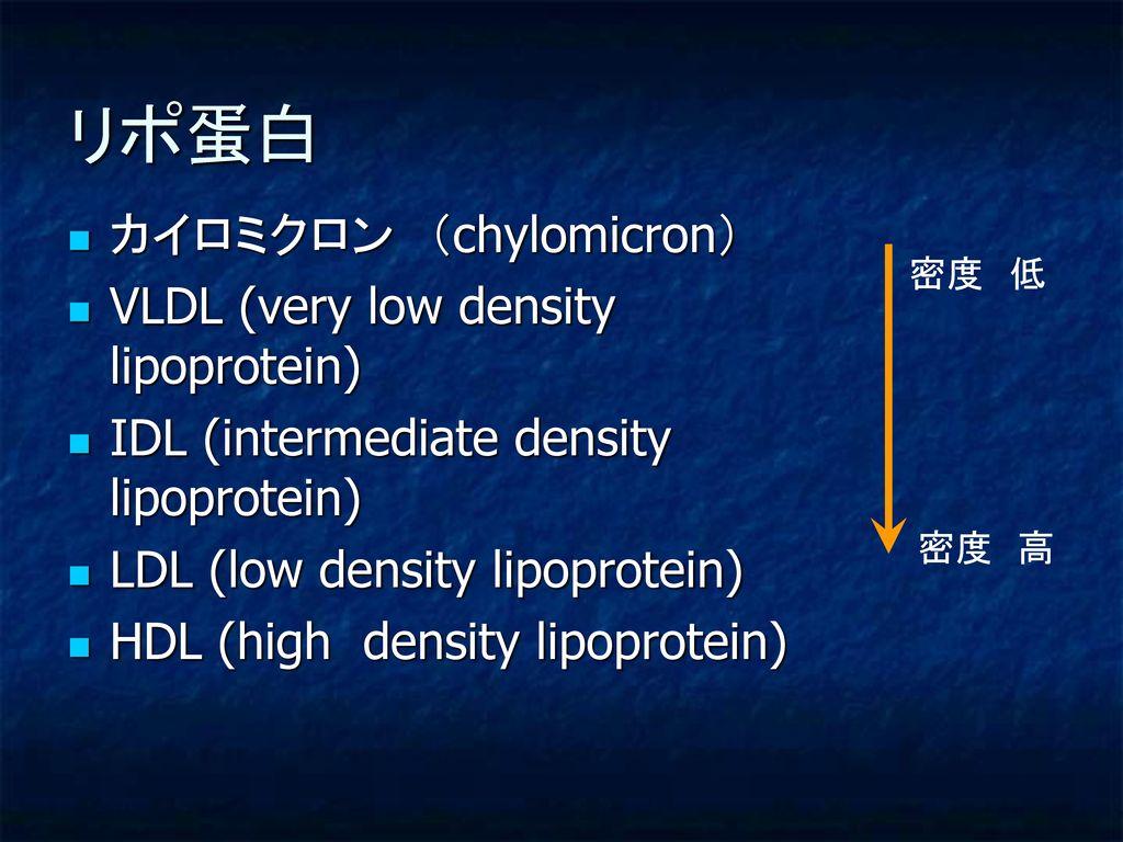 リポ蛋白 カイロミクロン (chylomicron) VLDL (very low density lipoprotein)