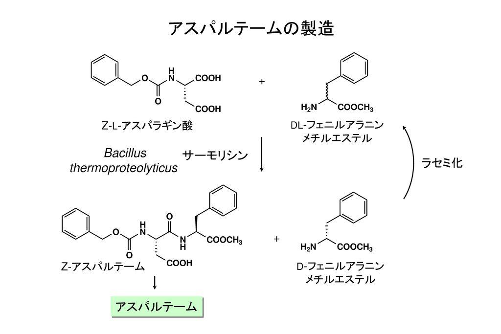 アスパルテームの製造 Bacillus サーモリシン thermoproteolyticus ラセミ化 アスパルテーム +