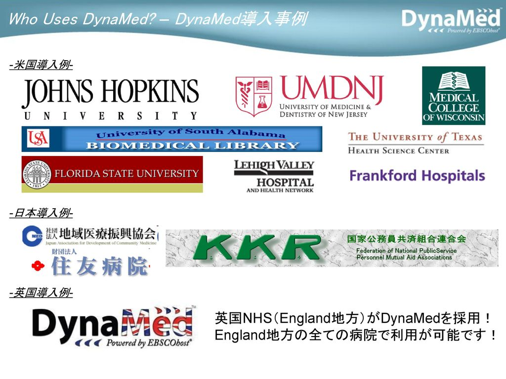 Who Uses DynaMed – DynaMed導入事例