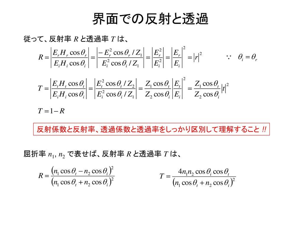界面での反射と透過 従って、反射率 R と透過率 T は、 反射係数と反射率、透過係数と透過率をしっかり区別して理解すること !!