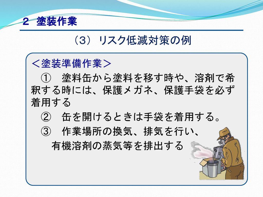 (3) リスク低減対策の例 2 塗装作業 <塗装準備作業>
