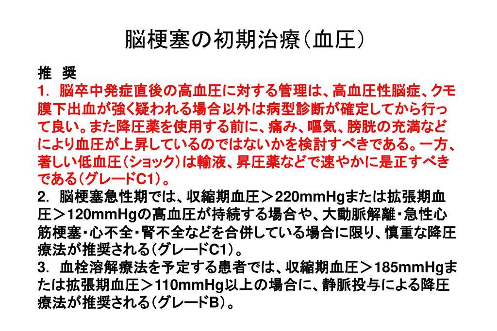 脳梗塞の初期治療(血圧) 推 奨.