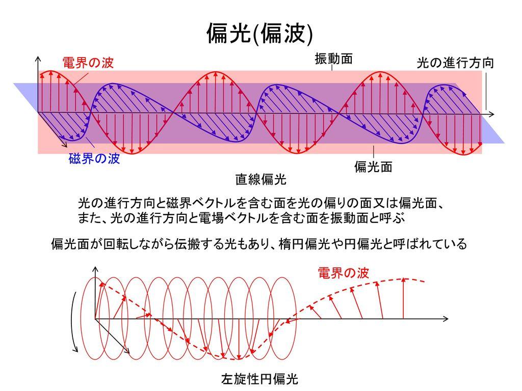 偏光(偏波) 振動面 電界の波 光の進行方向 磁界の波 偏光面 直線偏光