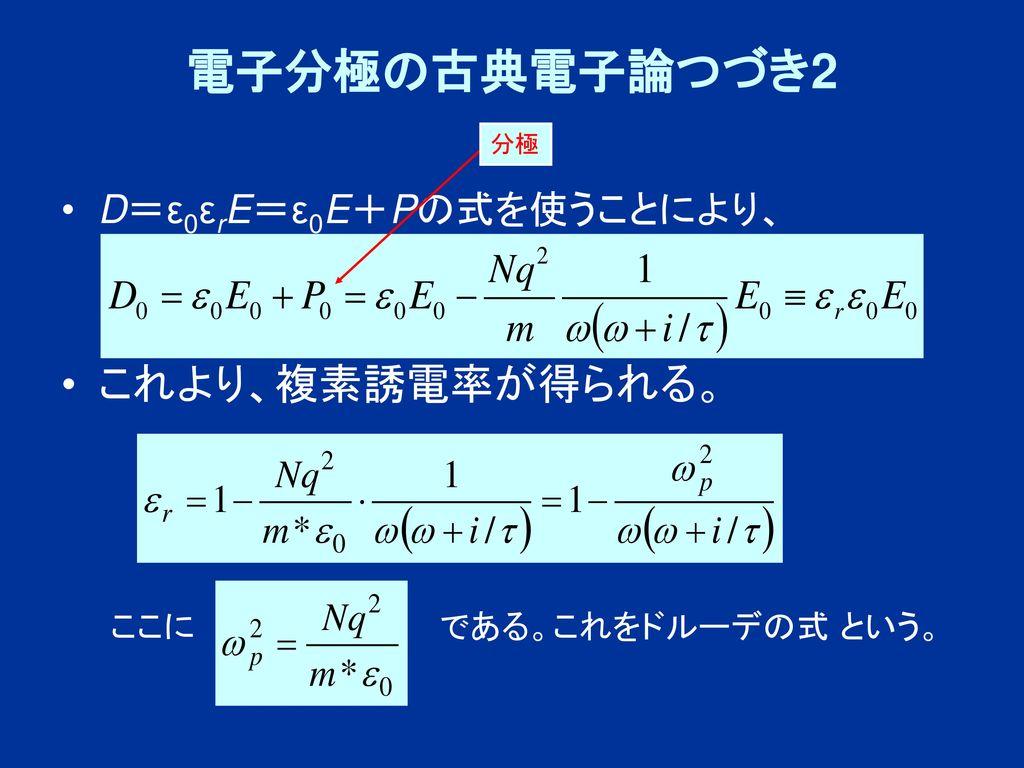 電子分極の古典電子論つづき2 これより、複素誘電率が得られる。 D=ε0εrE=ε0E+Pの式を使うことにより、