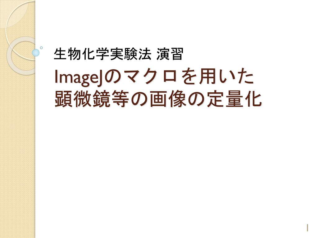 ImageJのマクロを用いた 顕微鏡等の画像の定量化