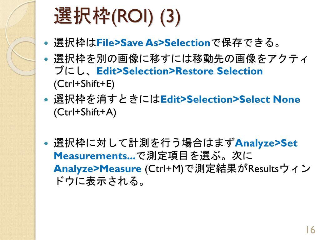 選択枠(ROI) (3) 選択枠はFile>Save As>Selectionで保存できる。