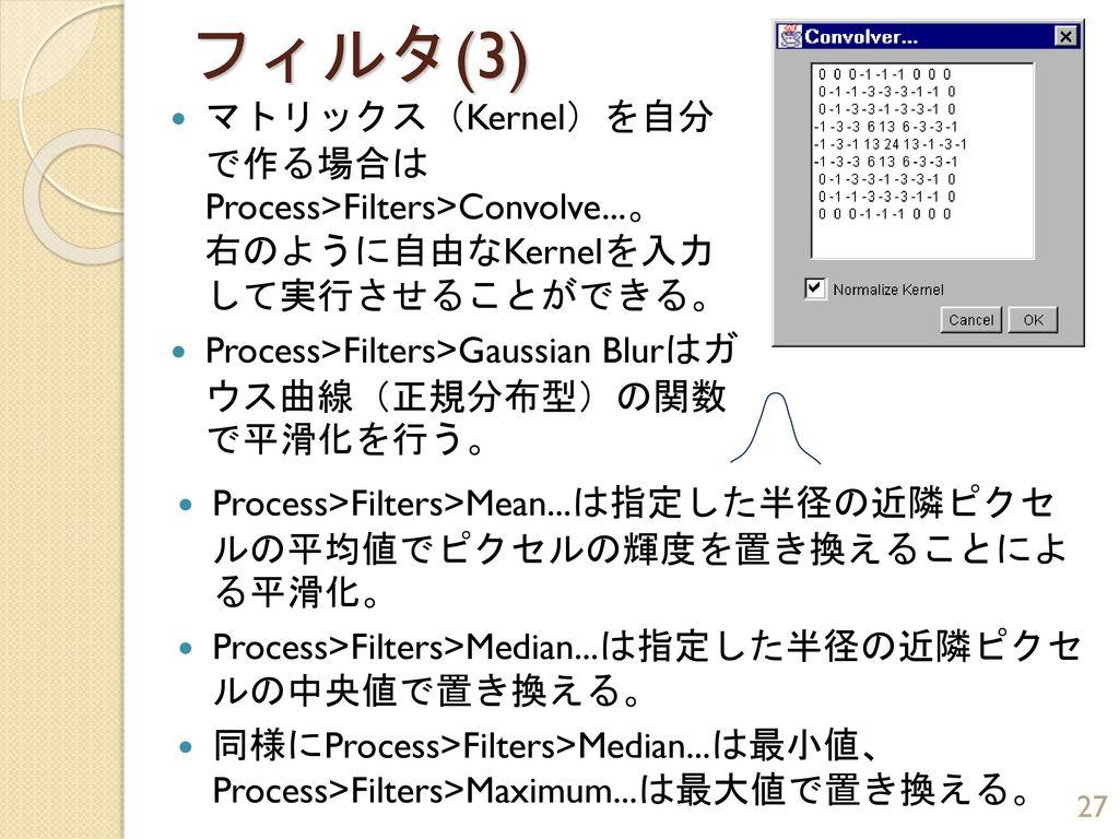 フィルタ(3) マトリックス(Kernel)を自分 で作る場合は Process>Filters>Convolve...。 右のように自由なKernelを入力 して実行させることができる。