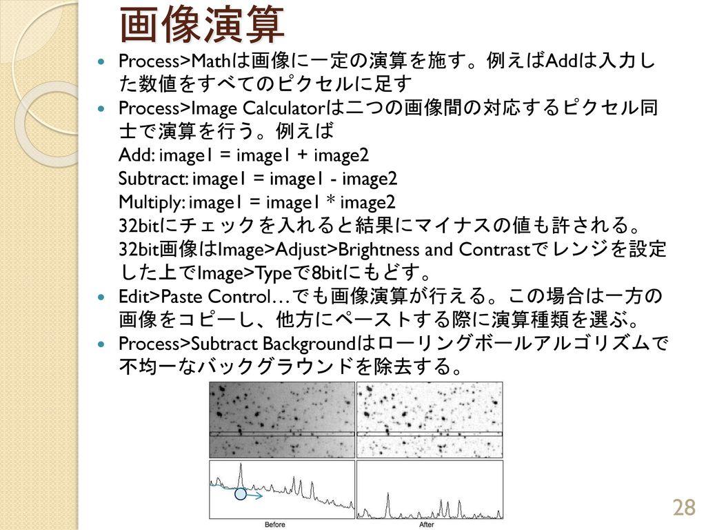 画像演算 Process>Mathは画像に一定の演算を施す。例えばAddは入力した数値をすべてのピクセルに足す
