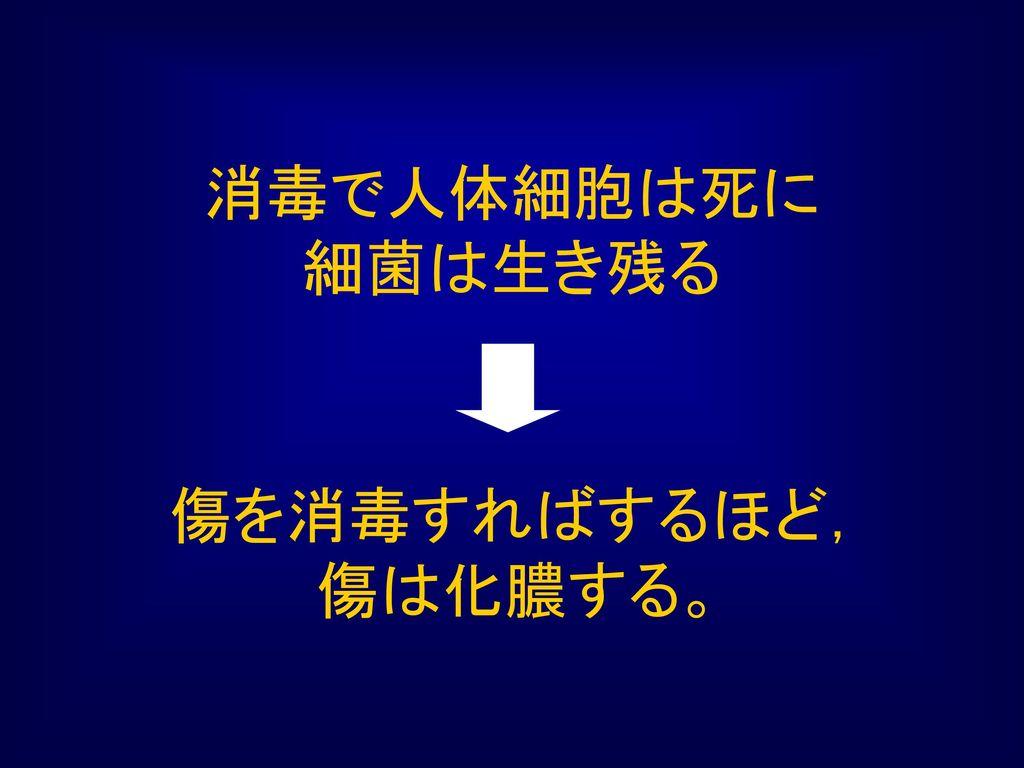 消毒で人体細胞は死に 細菌は生き残る 傷を消毒すればするほど, 傷は化膿する。