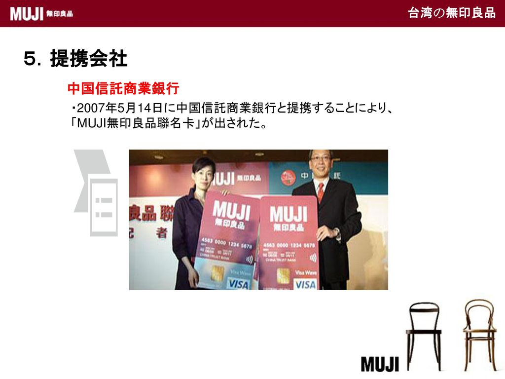 5.提携会社 中国信託商業銀行 台湾の無印良品