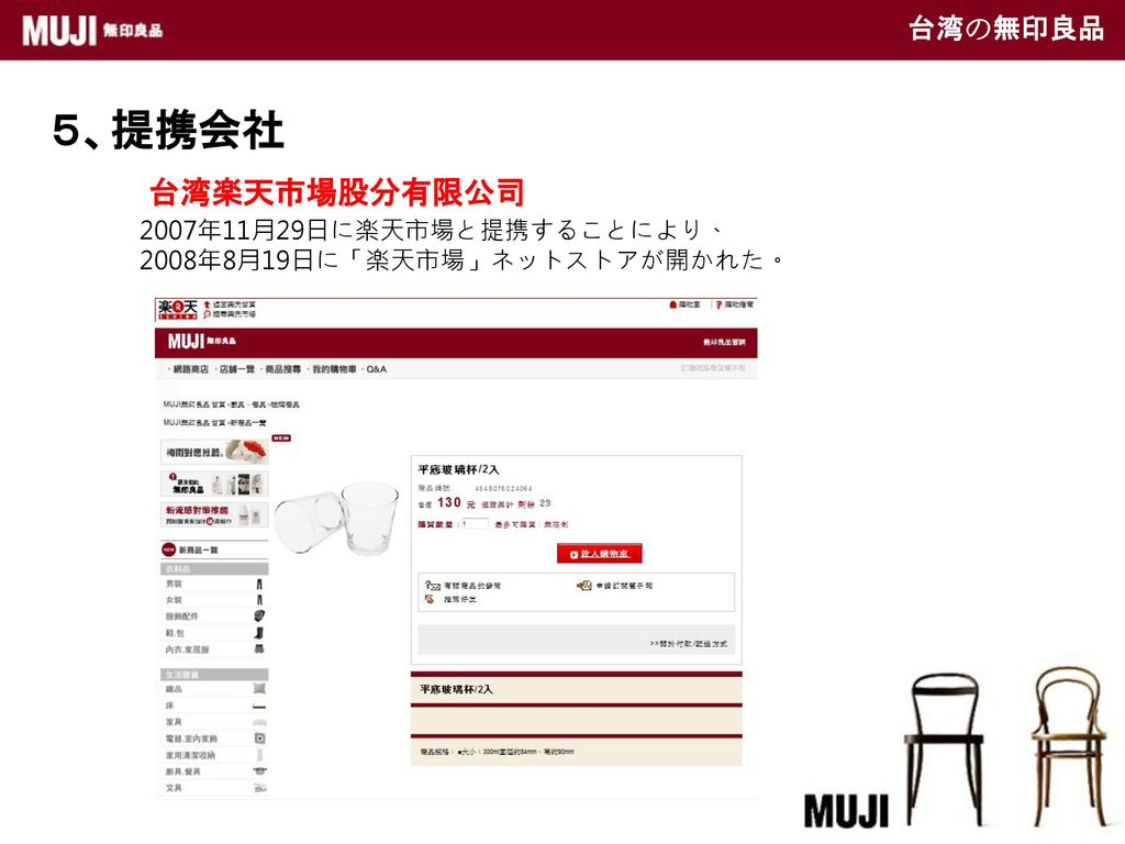 5、提携会社 台湾楽天市場股分有限公司 台湾の無印良品 2007年11月29日に楽天市場と提携することにより、