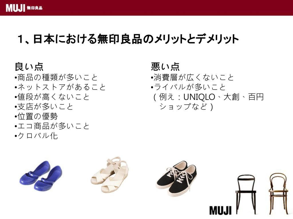 1、日本における無印良品のメリットとデメリット