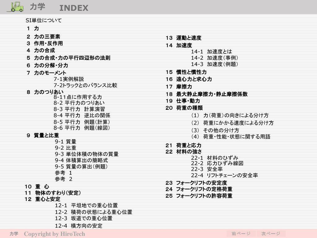 力学 INDEX Copyright by HiroTech SI単位について 1 力 2 力の三要素 13 運動と速度 3 作用・反作用