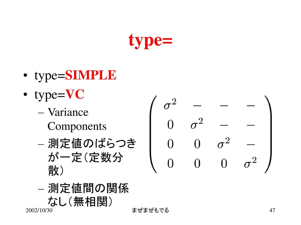type= type=SIMPLE type=VC Variance Components 測定値のばらつきが一定(定数分散)