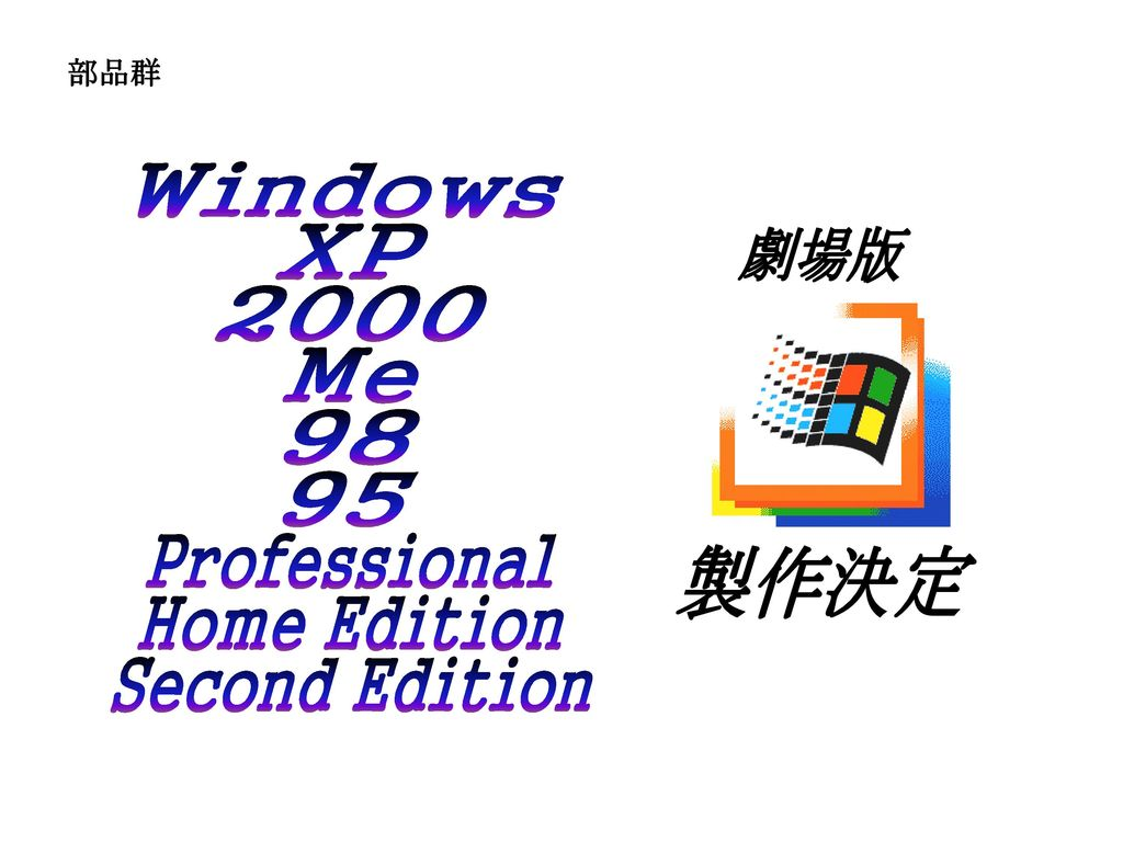 製作決定 Windows XP 劇場版 2000 Me Professional Home Edition