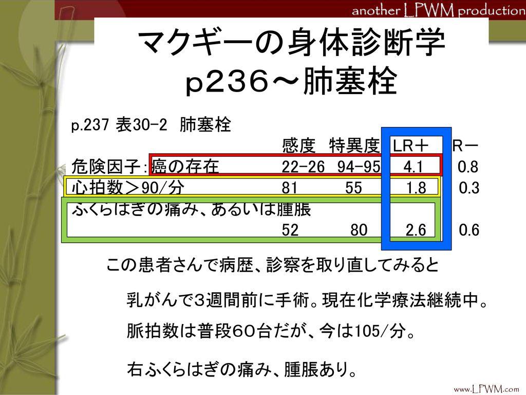 マクギーの身体診断学 p236~肺塞栓 p.237 表30-2 肺塞栓 感度 特異度 LR+ LR-