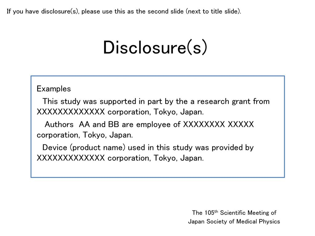 Disclosure(s) Examples