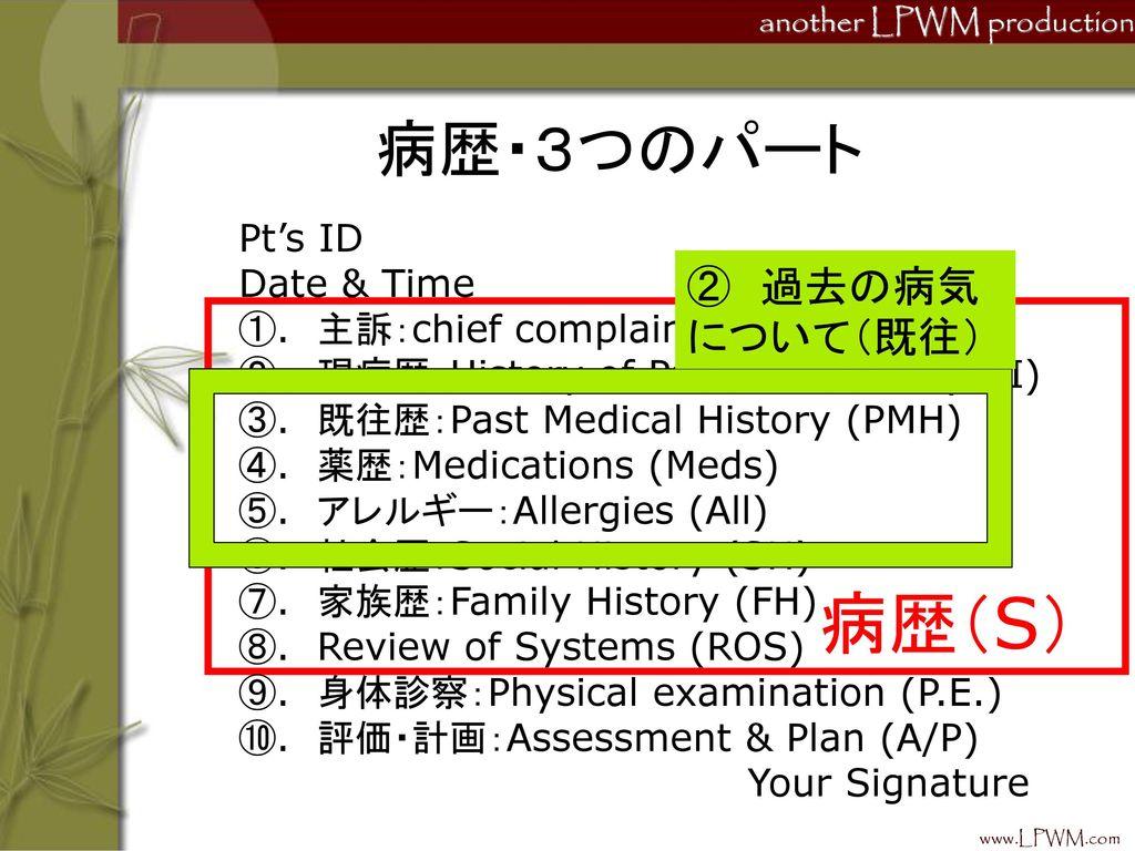 病歴(S) 病歴・3つのパート ② 過去の病気について(既往) Pt's ID Date & Time