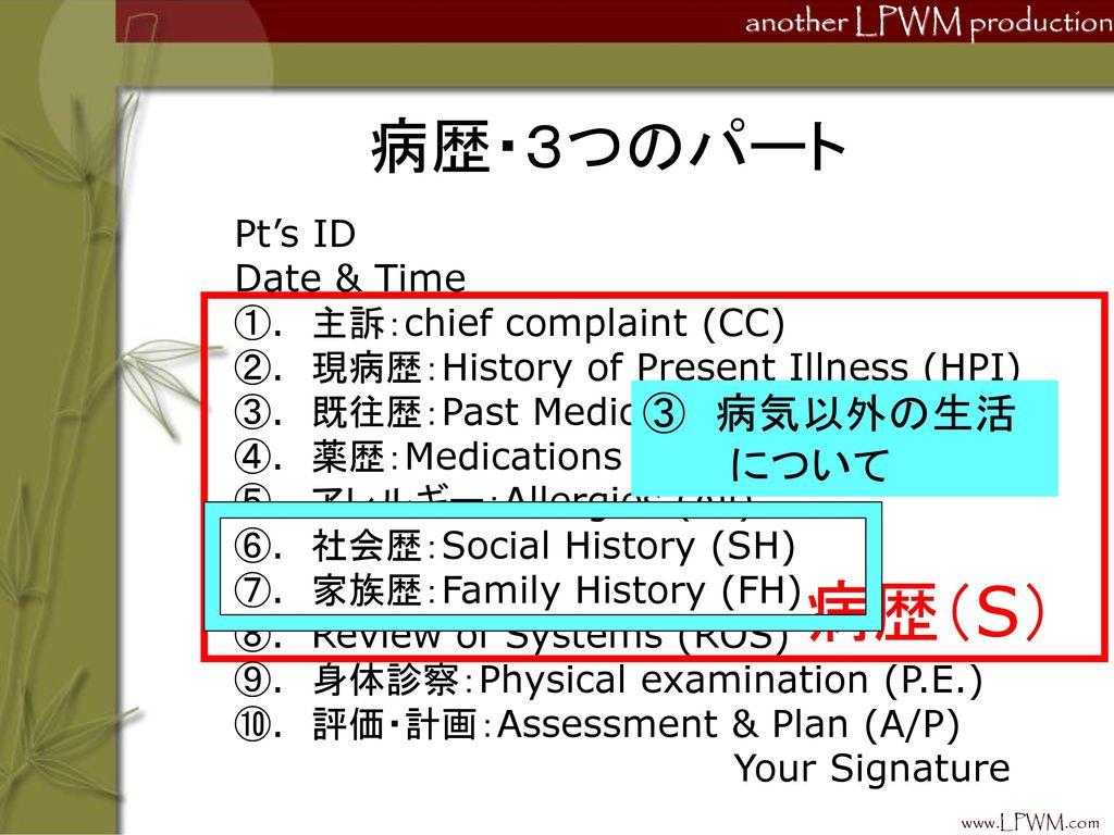 病歴(S) 病歴・3つのパート ③ 病気以外の生活 について Pt's ID Date & Time