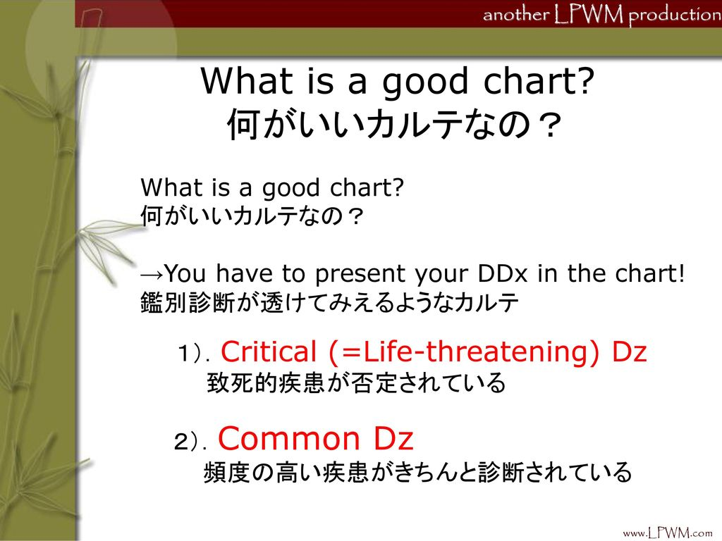 What is a good chart 何がいいカルテなの?