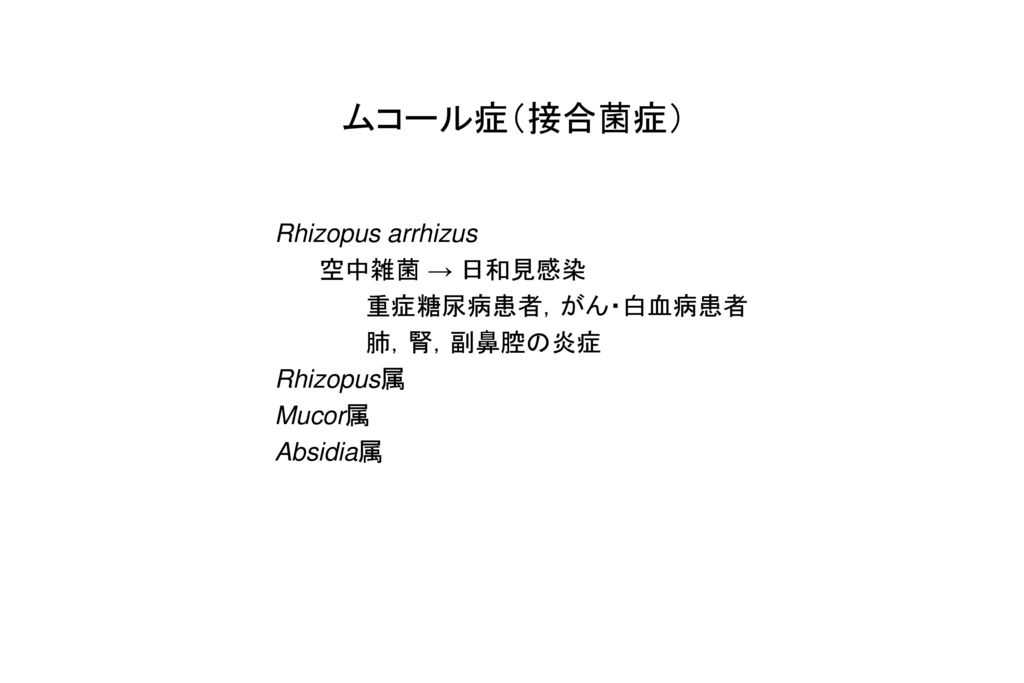 ムコール症(接合菌症) Rhizopus arrhizus 空中雑菌 → 日和見感染 重症糖尿病患者,がん・白血病患者 肺,腎,副鼻腔の炎症