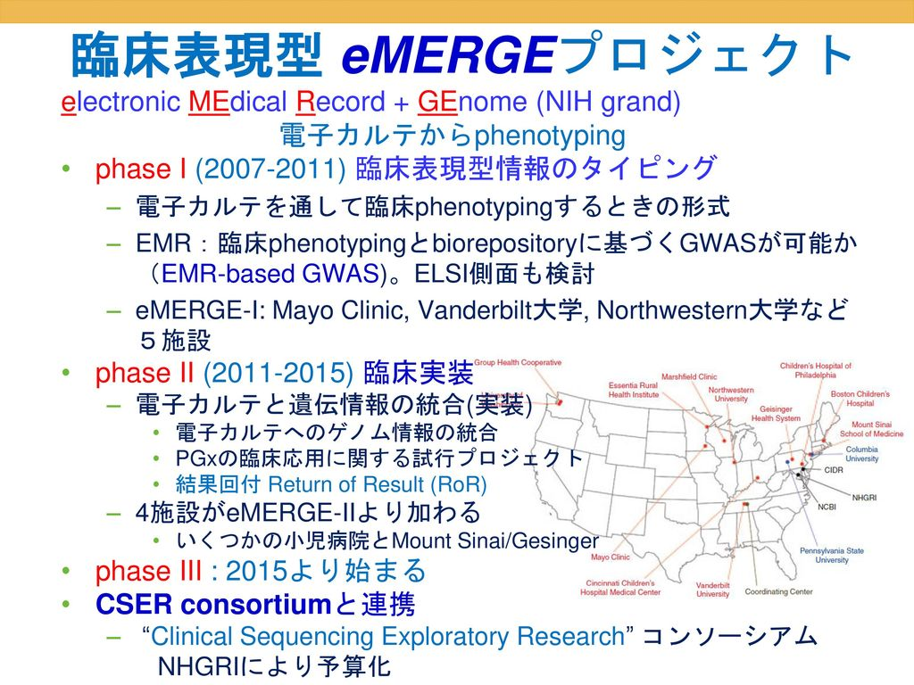 臨床表現型 eMERGEプロジェクト electronic MEdical Record + GEnome (NIH grand)