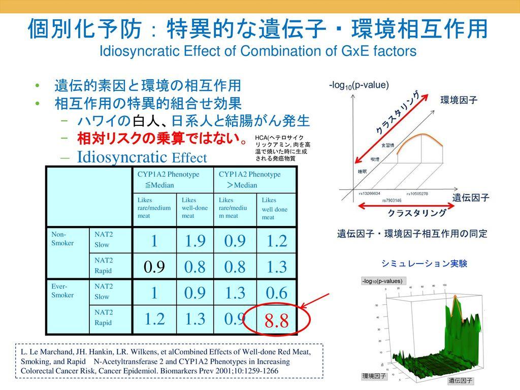 個別化予防:特異的な遺伝子・環境相互作用 Idiosyncratic Effect of Combination of GxE factors