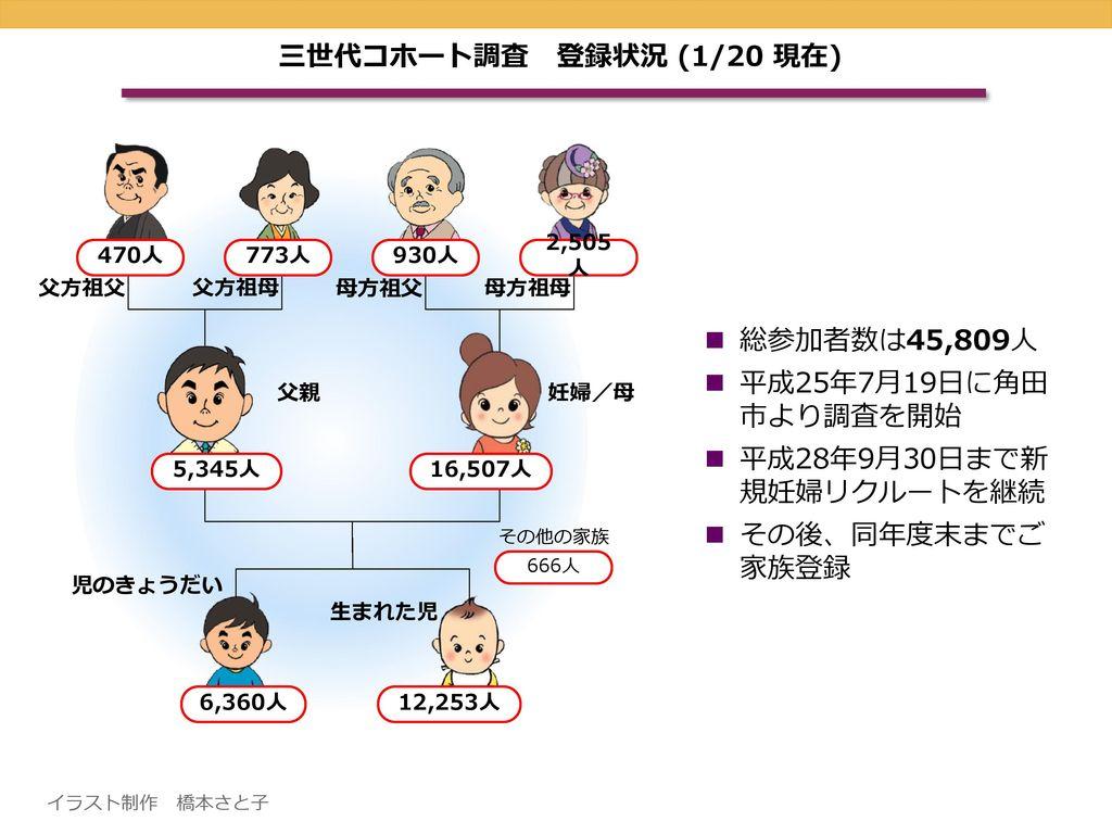 三世代コホート調査 登録状況 (1/20 現在) 総参加者数は45,809人 平成25年7月19日に角田 市より調査を開始
