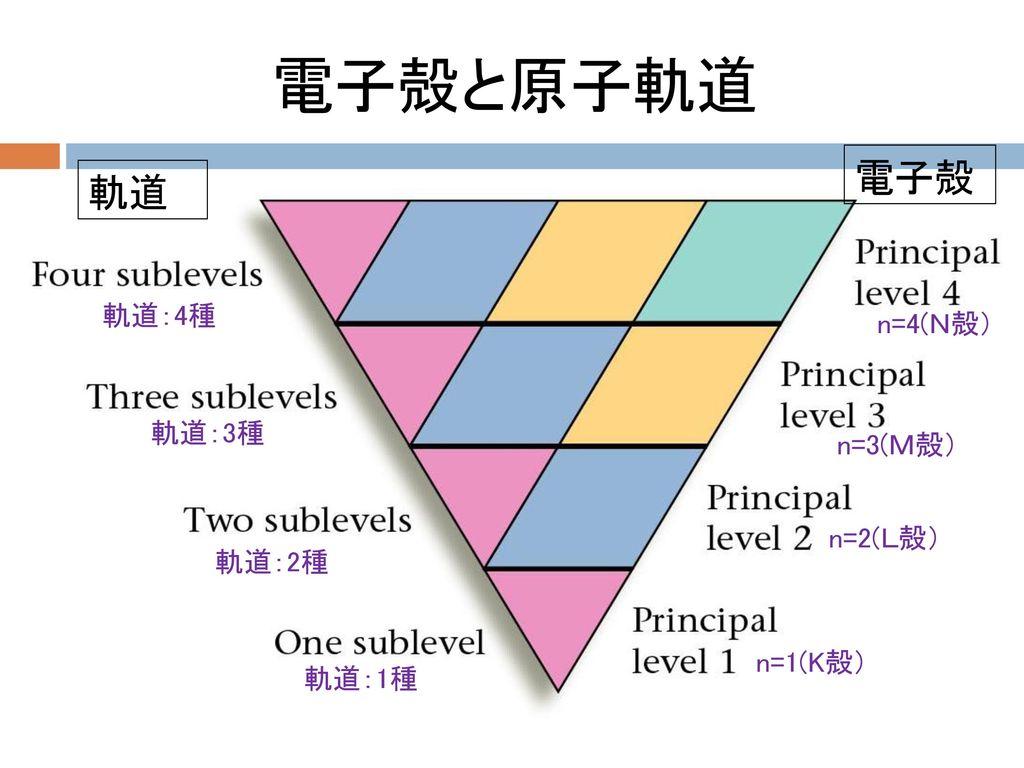 電子殻と原子軌道 電子殻 軌道 軌道:4種 n=4(N殻) 軌道:3種 n=3(M殻) n=2(L殻) 軌道:2種 n=1(K殻)