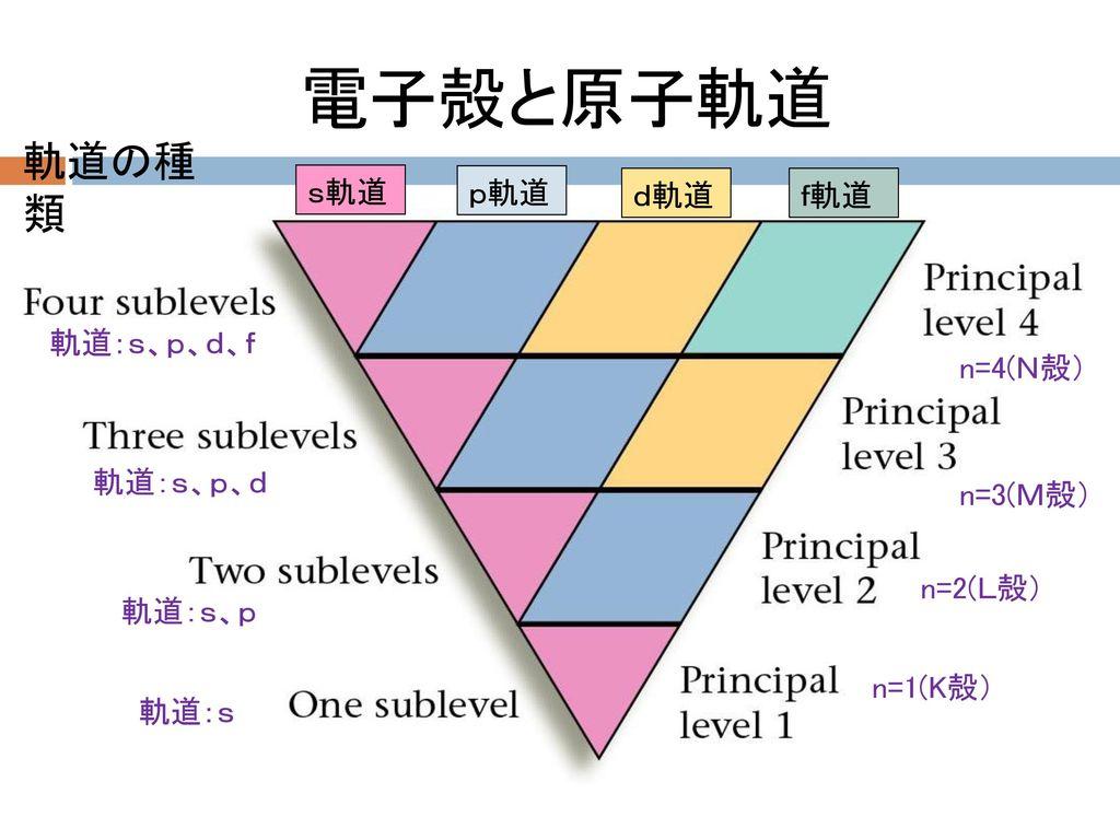 電子殻と原子軌道 軌道の種類 s軌道 p軌道 d軌道 f軌道 n=1(K殻) n=2(L殻) n=3(M殻) n=4(N殻)