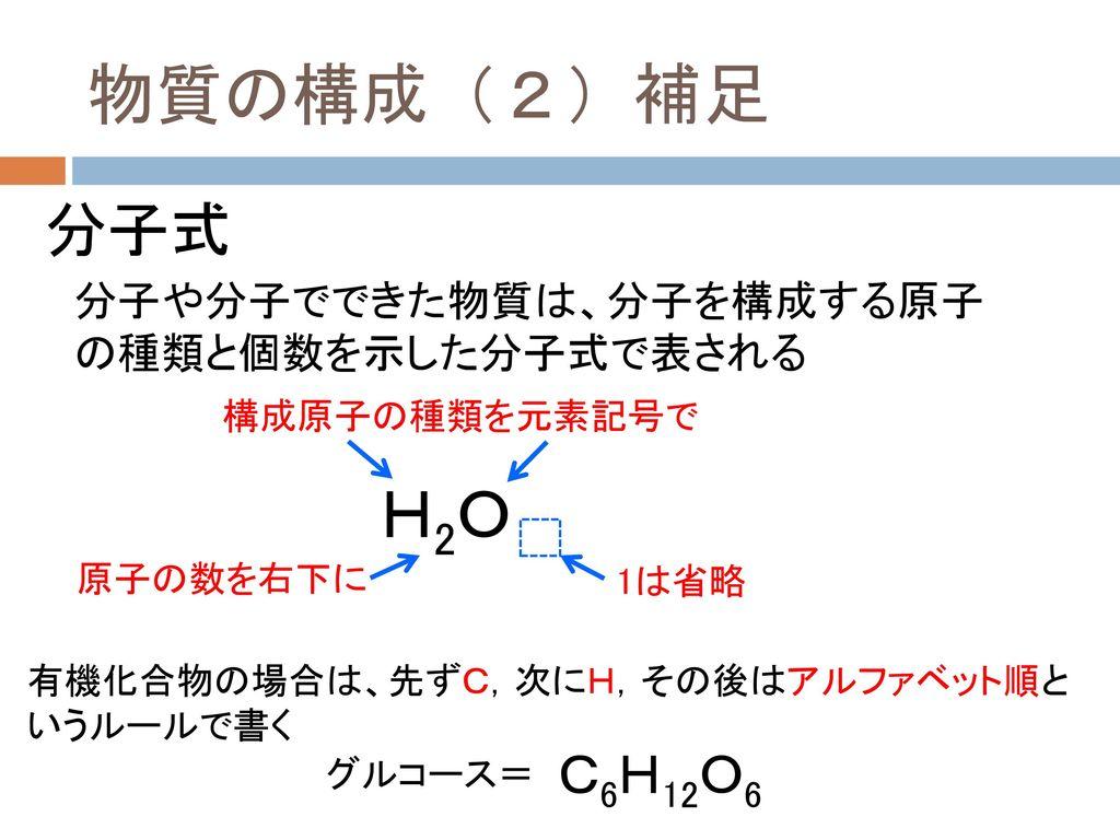 物質の構成(2)補足 H2O 分子式 グルコース= C6H12O6