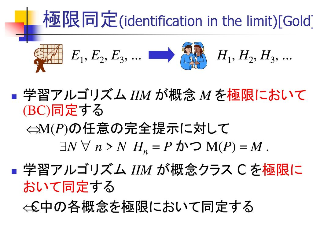 極限同定(identification in the limit)[Gold]