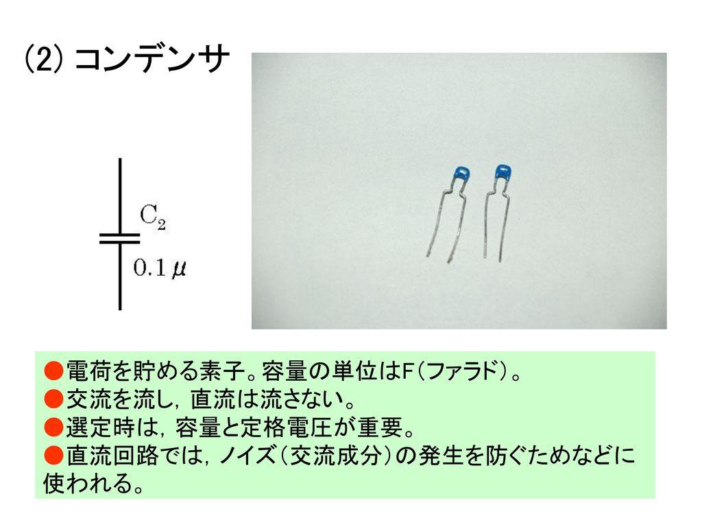 (2) コンデンサ ●電荷を貯める素子。容量の単位はF(ファラド)。 ●交流を流し,直流は流さない。 ●選定時は,容量と定格電圧が重要。