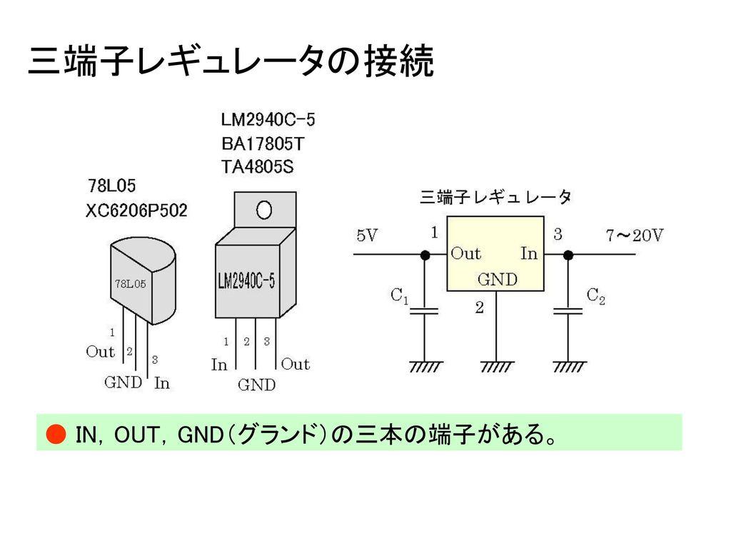 三端子レギュレータの接続 ● IN,OUT,GND(グランド)の三本の端子がある。