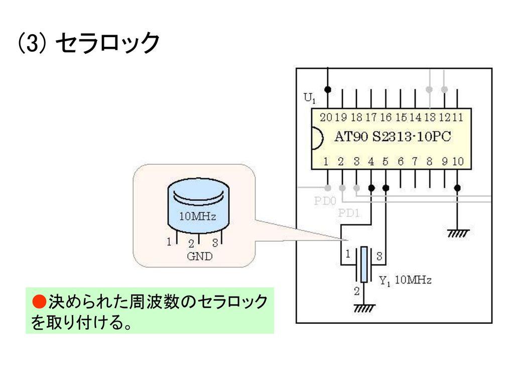 (3) セラロック ●決められた周波数のセラロックを取り付ける。
