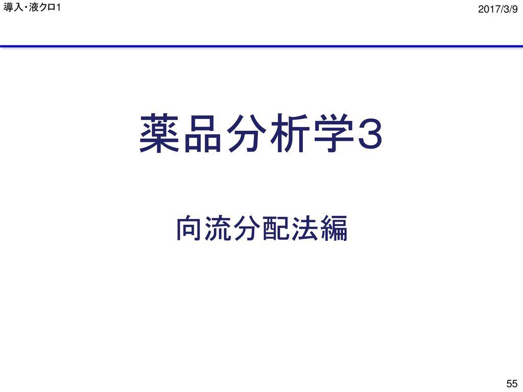 導入・液クロ1 2017/3/9 薬品分析学3 向流分配法編
