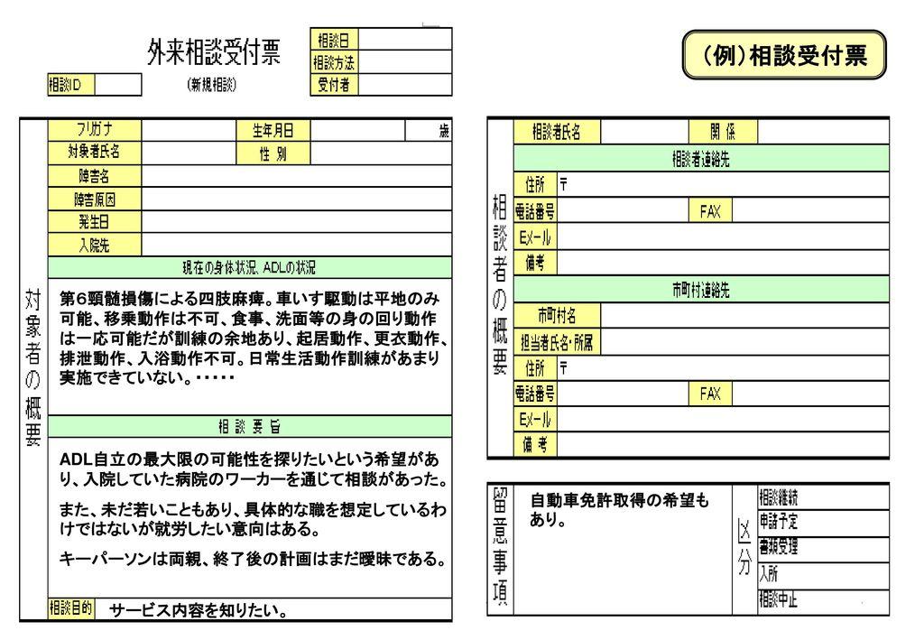 (例)相談受付票 参考までに、外来相談受付票を紹介します。