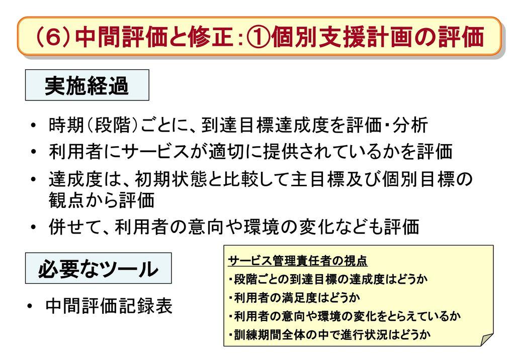(6)中間評価と修正:①個別支援計画の評価
