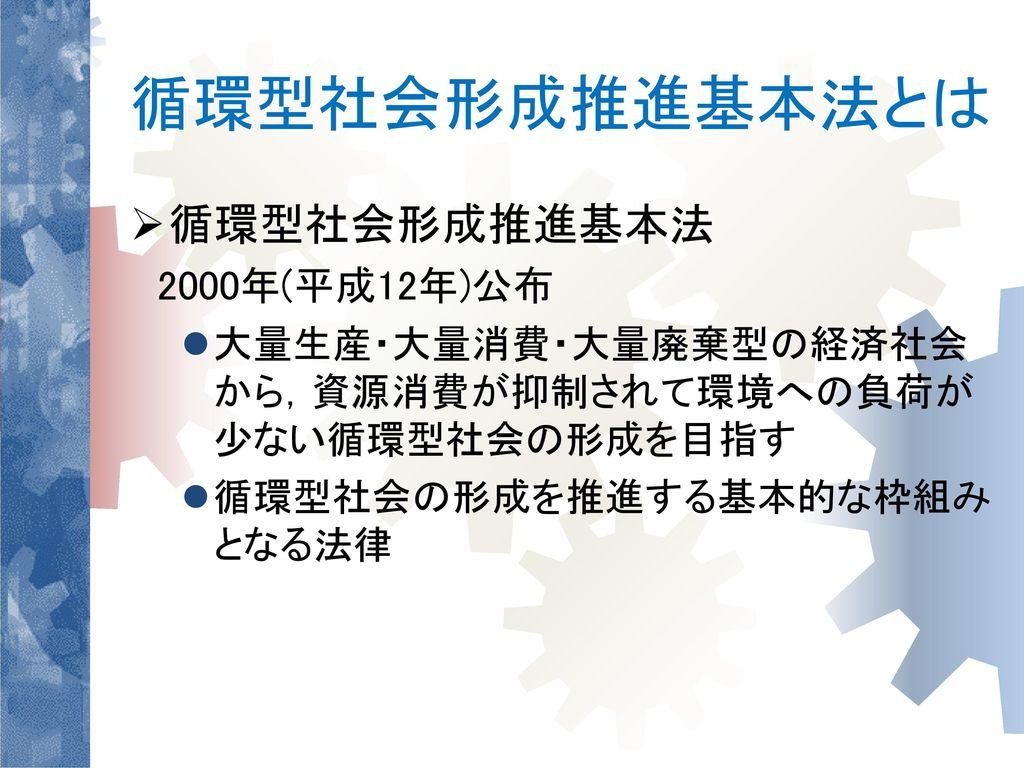 循環型社会形成推進基本法とは 循環型社会形成推進基本法 2000年(平成12年)公布