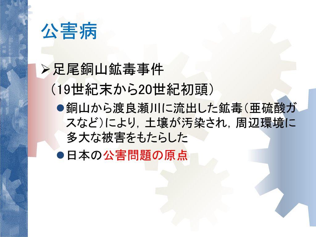 公害病 足尾銅山鉱毒事件 (19世紀末から20世紀初頭)