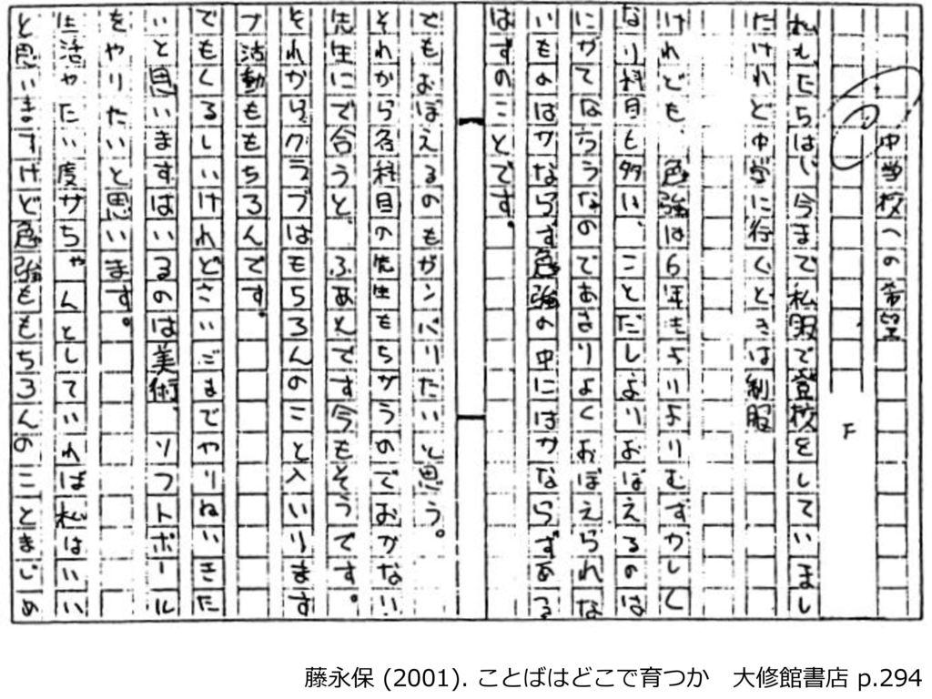 藤永保 (2001). ことばはどこで育つか 大修館書店 p.294